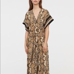 NWT H&M snake print jumpsuit with tie SIZE 2